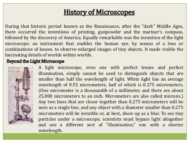 history and types of microscopes There are different types of microscopes: optical  homepage / science / the 14 types of most common microscopes  obtained from history of the.