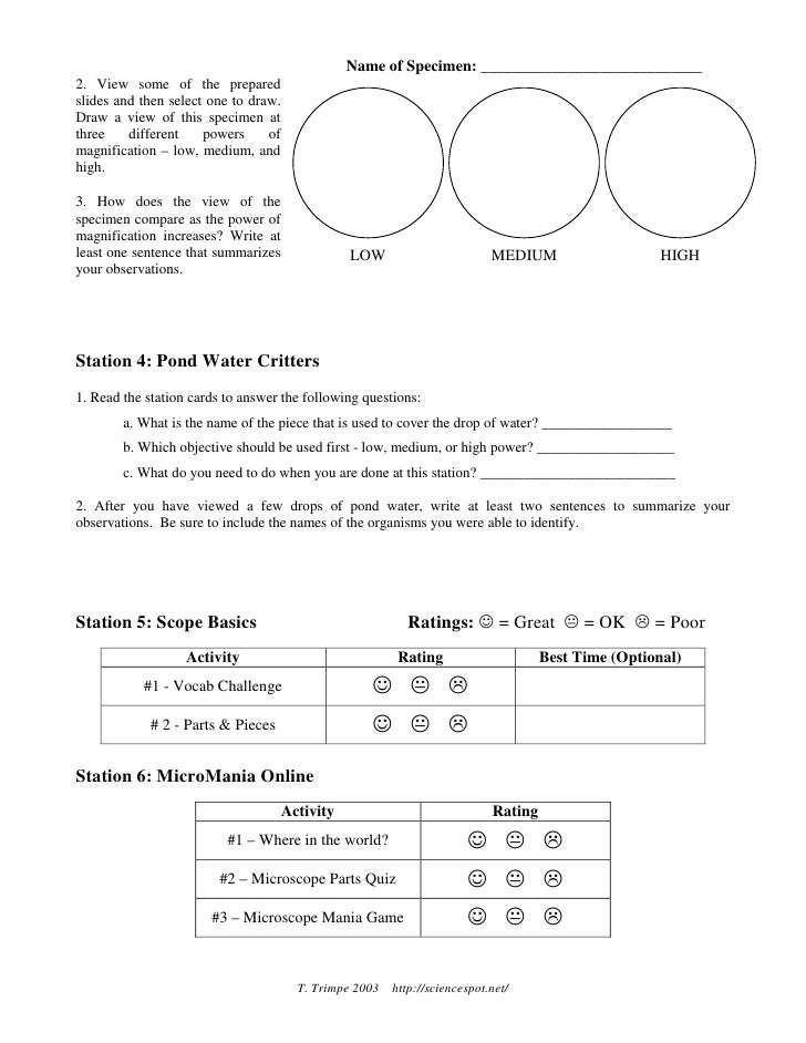 {Microscope Mania Lab Sheet – Microscope Lab Worksheet