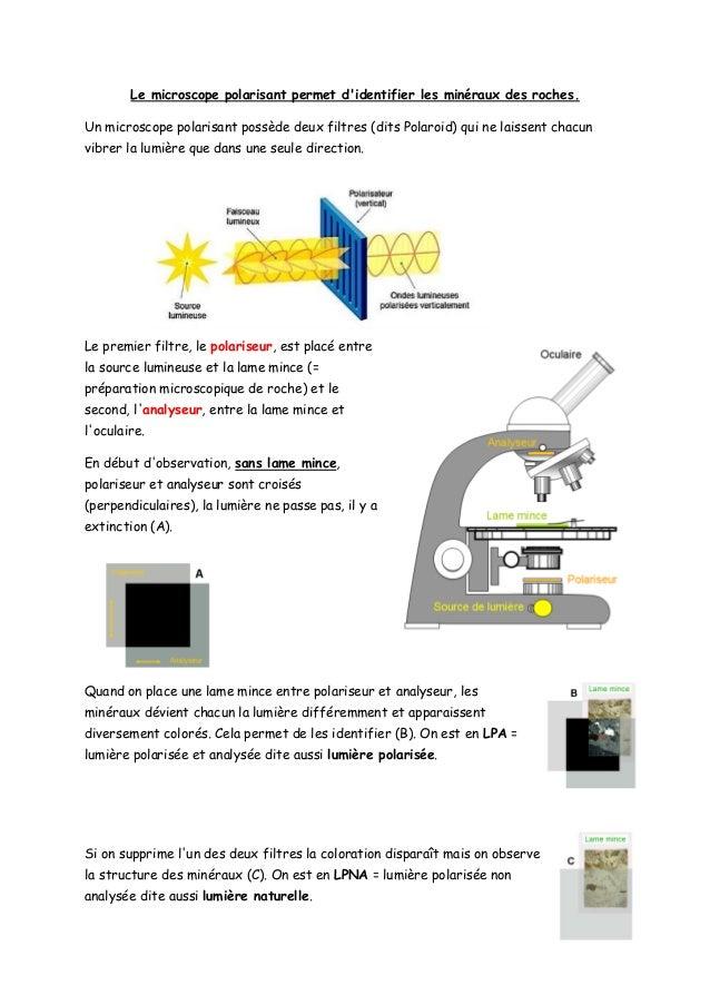 Le microscope polarisant permet d'identifier les minéraux des roches. Un microscope polarisant possède deux filtres (dits ...