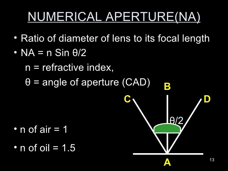 NUMERICAL APERTURE(NA) <ul><ul><li>Ratio of diameter of lens to its focal length </li></ul></ul><ul><ul><li>NA = n Sin  θ ...