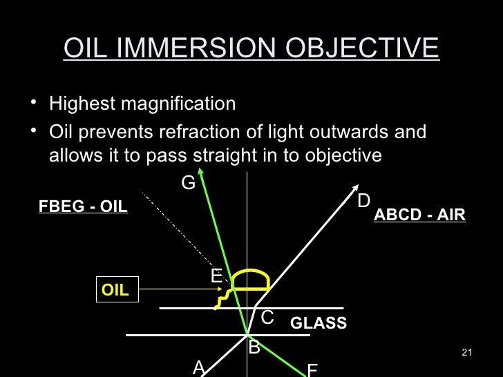 OIL IMMERSION OBJECTIVE <ul><li>Highest magnification </li></ul><ul><li>Oil prevents refraction of light outwards and allo...