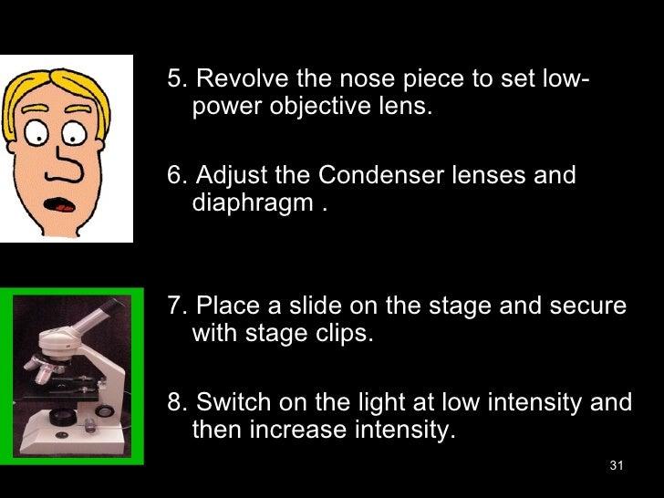 <ul><li>5. Revolve the nose piece to set low-power objective lens. </li></ul><ul><li>6. Adjust the Condenser lenses and di...