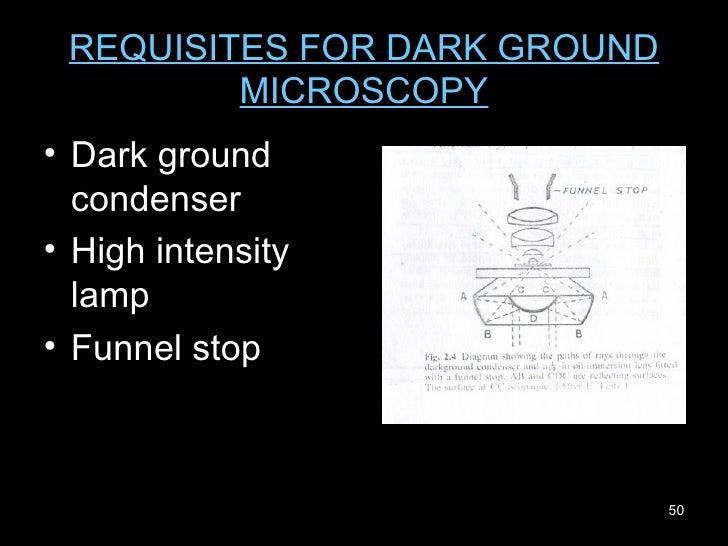 REQUISITES FOR DARK GROUND MICROSCOPY <ul><li>Dark ground condenser  </li></ul><ul><li>High intensity lamp </li></ul><ul><...