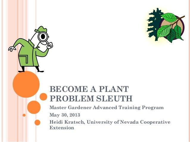 BECOME A PLANTPROBLEM SLEUTHMaster Gardener Advanced Training ProgramMay 30, 2013Heidi Kratsch, University of Nevada Coope...