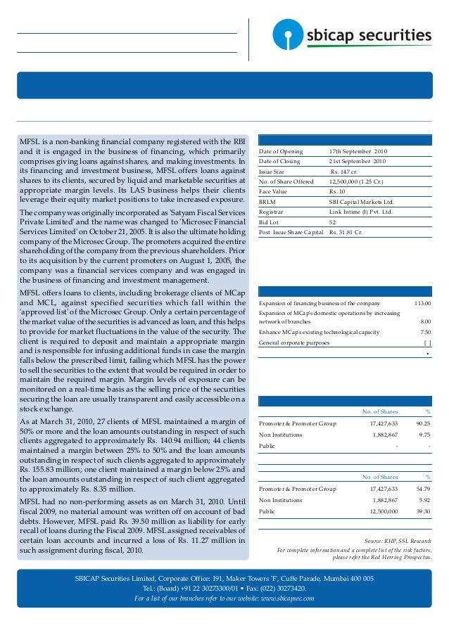 Microsec Financial Services Ltd. IPO Note Price Band (Rs.): 113 - 118 Retail Research 16 September 2010 Sector: Financial ...