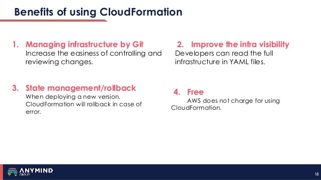 1818 Benefits of using CloudFormation 1. Managing infrastructure by Git Increase the easiness of controlling and reviewing...