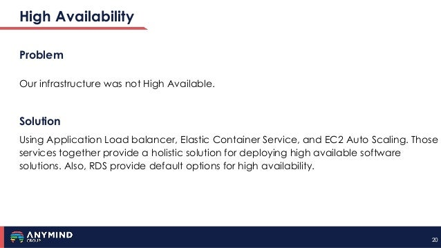 2020 High Availability Problem Our infrastructure was not High Available. Solution Using Application Load balancer, Elasti...