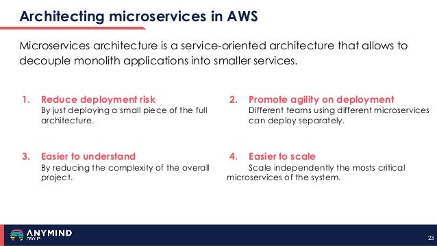 2323 Architecting microservices in AWS Microservices architecture is a service-oriented architecture that allows to decoup...