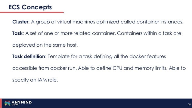 2828 ECS Concepts Cluster: A group of virtual machines optimized called container instances. Task: A set of one or more re...