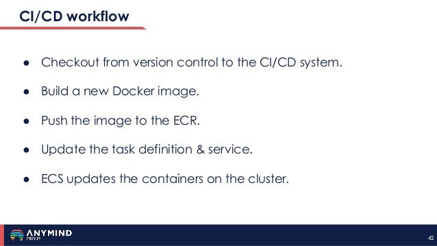 4242 CI/CD workflow ● Checkout from version control to the CI/CD system. ● Build a new Docker image. ● Push the image to t...