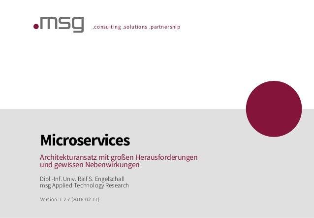 .consulting .solutions .partnership Microservices Architekturansatz mit großen Herausforderungen und gewissen Nebenwirkung...