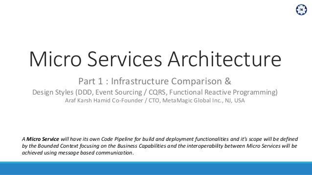 Micro Services Architecture Part 1 : Infrastructure Comparison & Design Styles (DDD, Event Sourcing / CQRS, Functional Rea...