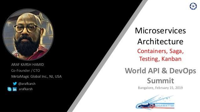 ARAF KARSH HAMID Co-Founder / CTO MetaMagic Global Inc., NJ, USA @arafkarsh arafkarsh Microservices Architecture Container...