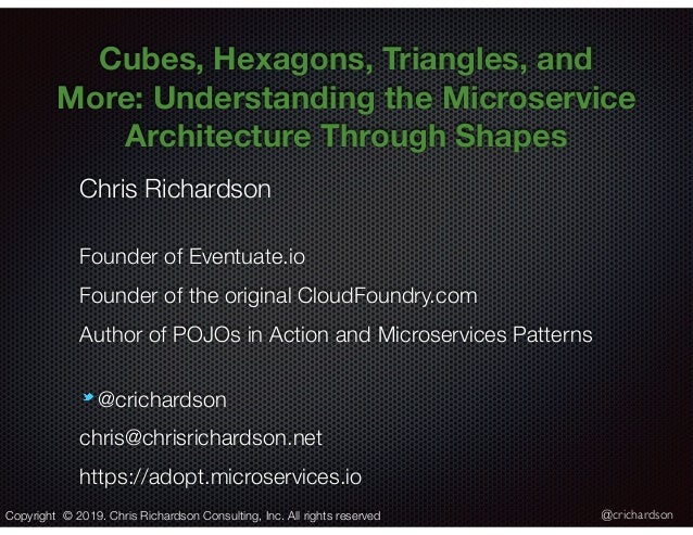 @crichardson Cubes, Hexagons, Triangles, and More: Understanding the Microservice Architecture Through Shapes Chris Richar...