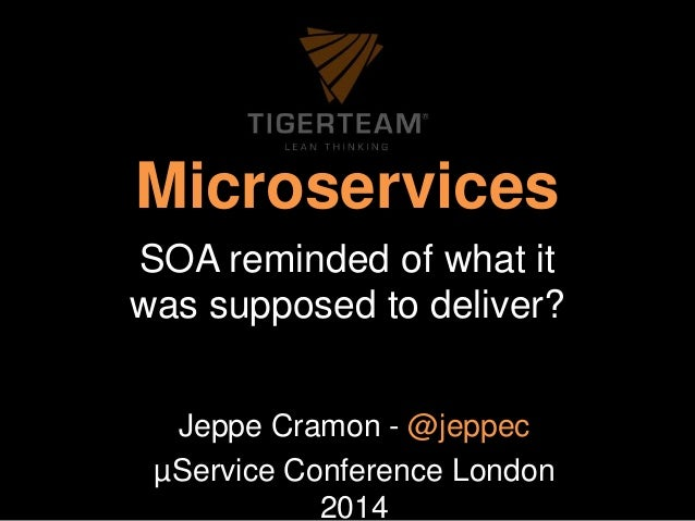 Microservices  SOA reminded of what it  was supposed to deliver?  Jeppe Cramon - @jeppec  μService Conference London  2014