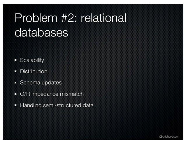 @crichardson Problem #2: relational databases Scalability Distribution Schema updates O/R impedance mismatch Handling semi...