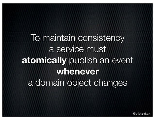 @crichardson To maintain consistency a service must atomically publish an event whenever a domain object changes