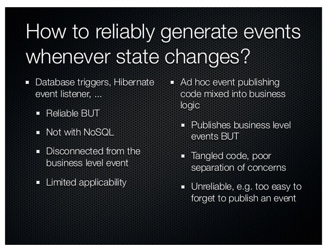How to reliably generate events whenever state changes? Database triggers, Hibernate event listener, ... Reliable BUT Not ...