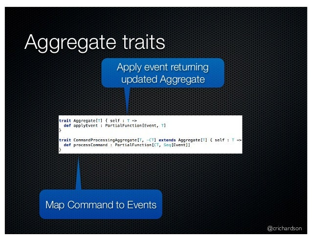 @crichardson Aggregate traits Map Command to Events Apply event returning updated Aggregate
