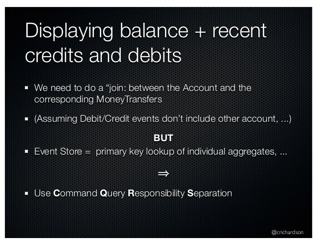 """@crichardson Displaying balance + recent credits and debits We need to do a """"join: between the Account and the correspondi..."""