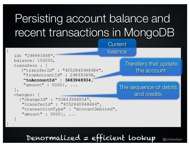"@crichardson Persisting account balance and recent transactions in MongoDB { id: ""298993498"", balance: 100000, transfers :..."