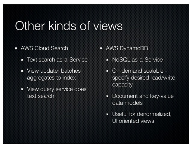 Other kinds of views AWS Cloud Search Text search as-a-Service View updater batches aggregates to index View query service...