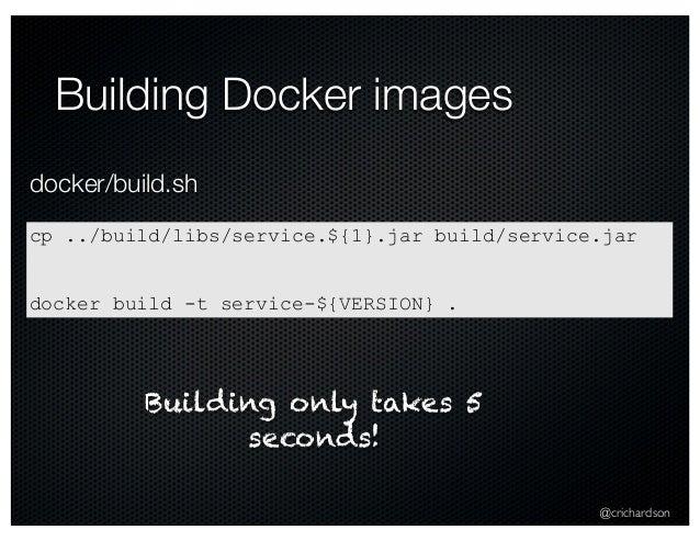 @crichardson Building Docker images cp ../build/libs/service.${1}.jar build/service.jar docker build -t service-${VERSION}...