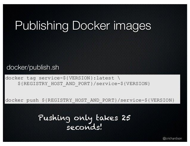 @crichardson Publishing Docker images docker tag service-${VERSION}:latest  ${REGISTRY_HOST_AND_PORT}/service-${VERSION} d...