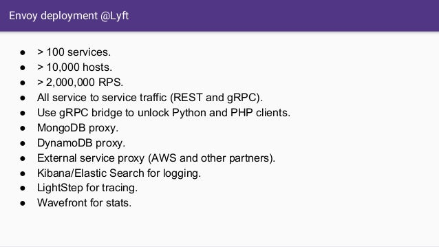Envoy deployment @Lyft ● > 100 services. ● > 10,000 hosts. ● > 2,000,000 RPS. ● All service to service traffic (REST and g...