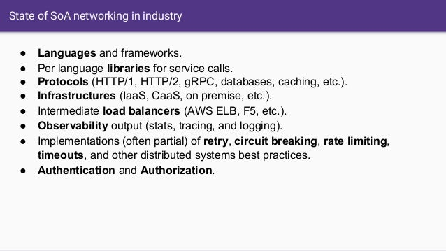 State of SoA networking in industry ● Languages and frameworks. ● Per language libraries for service calls. ● Protocols (H...