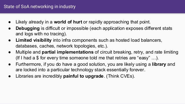 State of SoA networking in industry ● Likely already in a world of hurt or rapidly approaching that point. ● Debugging is ...