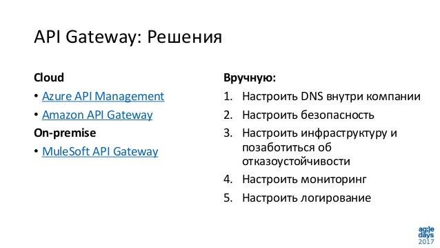 API Gateway: Решения Cloud • Azure API Management • Amazon API Gateway On-premise • MuleSoft API Gateway Вручную: 1. Настр...