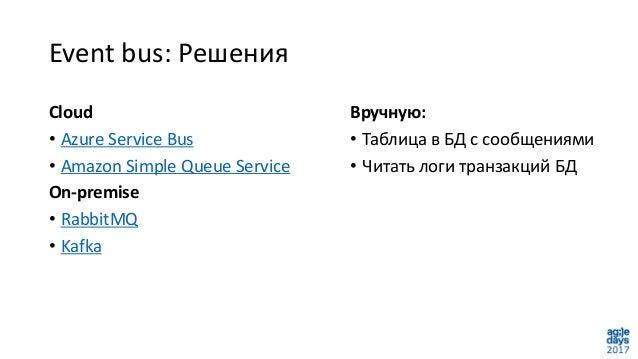 Event bus: Решения Вручную: • Таблица в БД с сообщениями • Читать логи транзакций БД Cloud • Azure Service Bus • Amazon Si...
