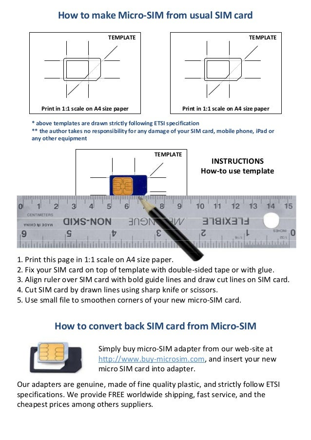 How to make Micro-SIM from usual SIM cardTEMPLATETEMPLATEPrint in 1:1 ...