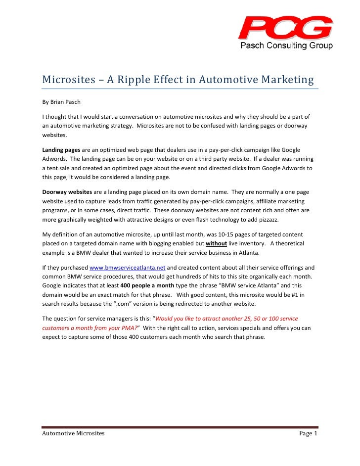 Microsites – A Ripple Effect in Automotive Marketing By Brian Pasch  I thought that I would start a conversation on automo...