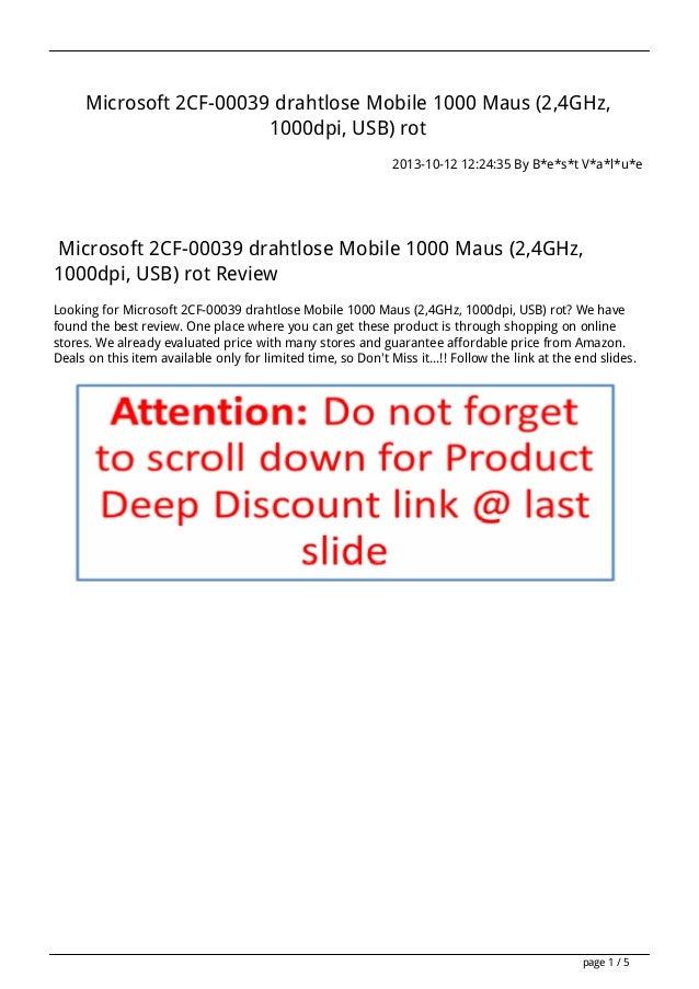 Microsoft 2CF-00039 drahtlose Mobile 1000 Maus (2,4GHz, 1000dpi, USB) rot 2013-10-12 12:24:35 By B*e*s*t V*a*l*u*e  Micros...