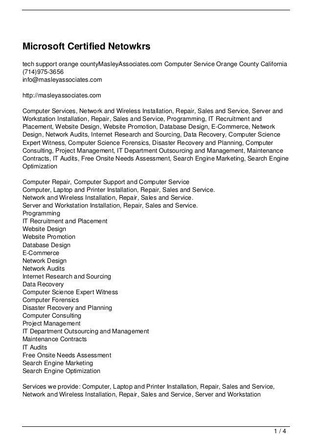 Microsoft Certified Netowkrstech support orange countyMasleyAssociates.com Computer Service Orange County California(714)9...