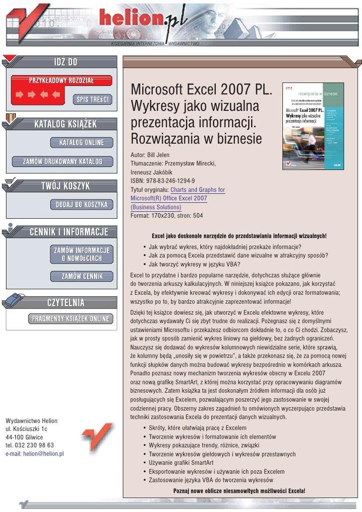 Microsoft Excel 2007 PL.                            Wykresy jako wizualna                            prezentacja informacj...