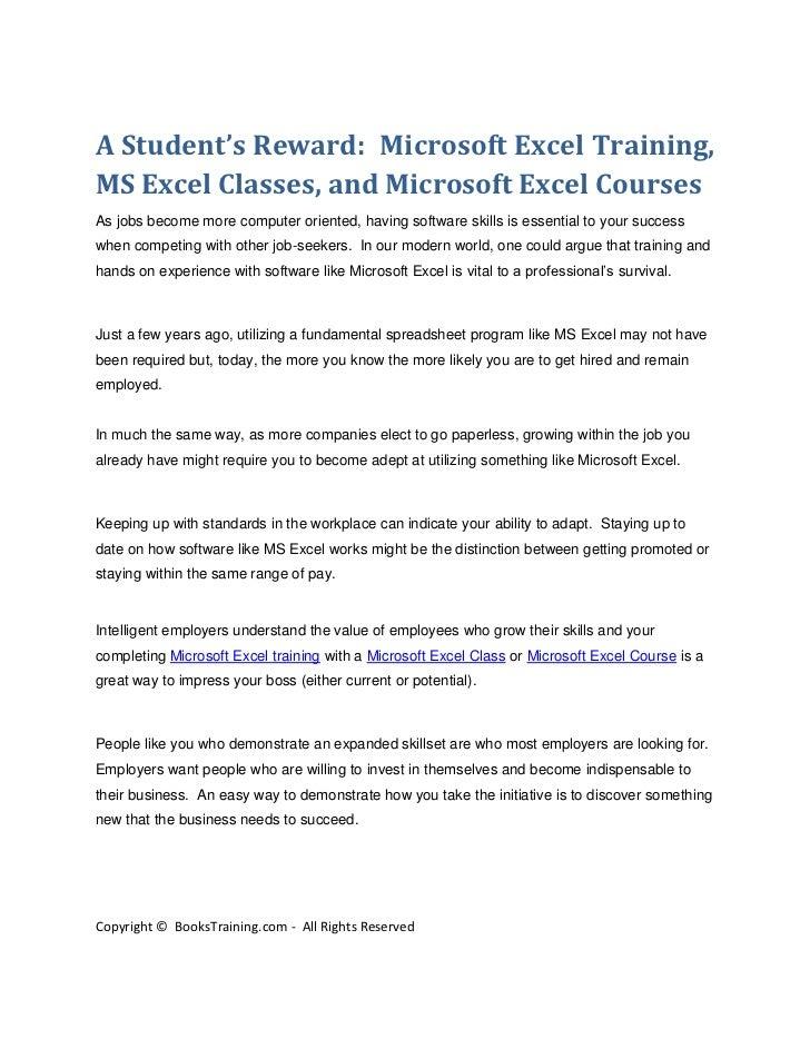 A Student's Reward: Microsoft Excel Training,MS Excel Classes, and Microsoft Excel CoursesAs jobs become more computer ori...