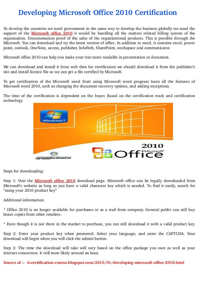 Microsoft Office 2010 Certifications
