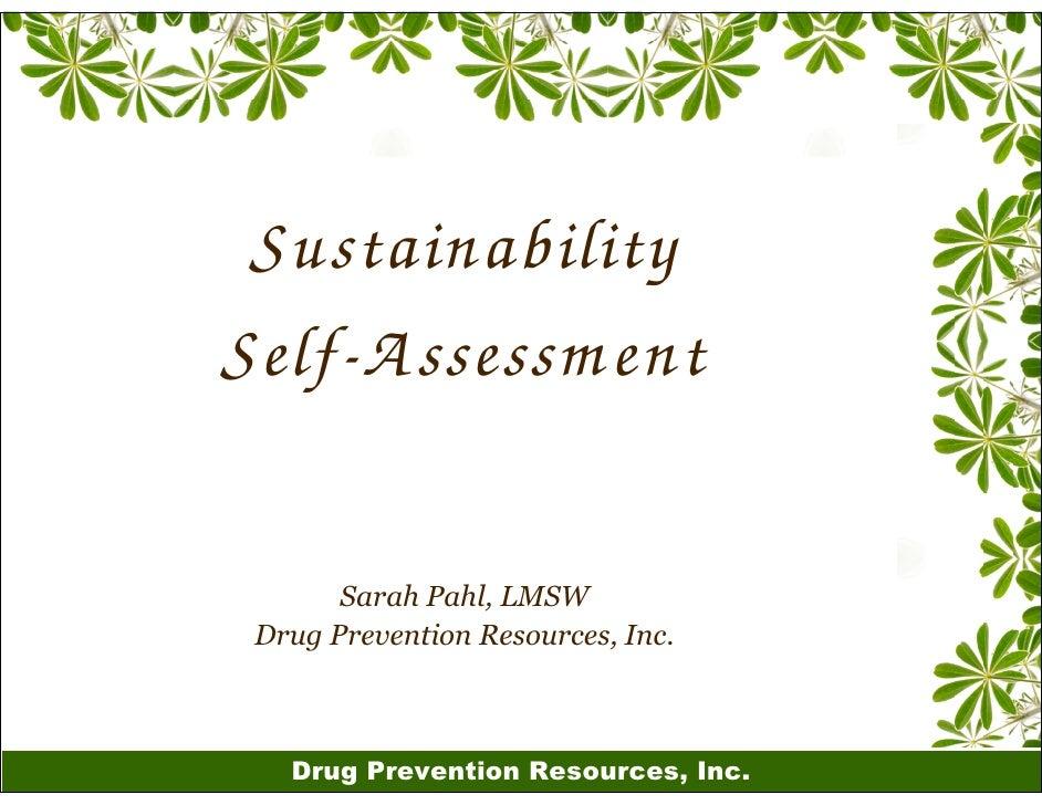 Sustainability Self-A ssessm ent         Sarah Pahl, LMSW  Drug Prevention Resources, Inc.       Drug Prevention Resources...