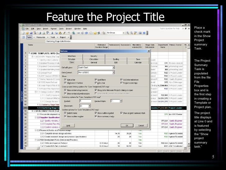 Template Configuration 5 Feature The Project