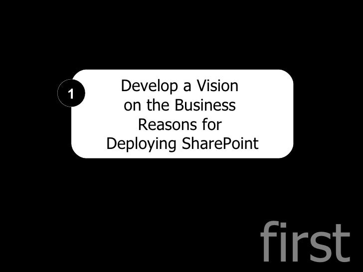 first Develop a Vision  on the Business  Reasons for  Deploying SharePoint 1