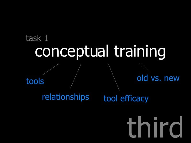 third task 1 conceptual training tools relationships tool efficacy old vs. new