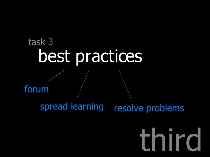 third task 3 best practices forum spread learning resolve problems