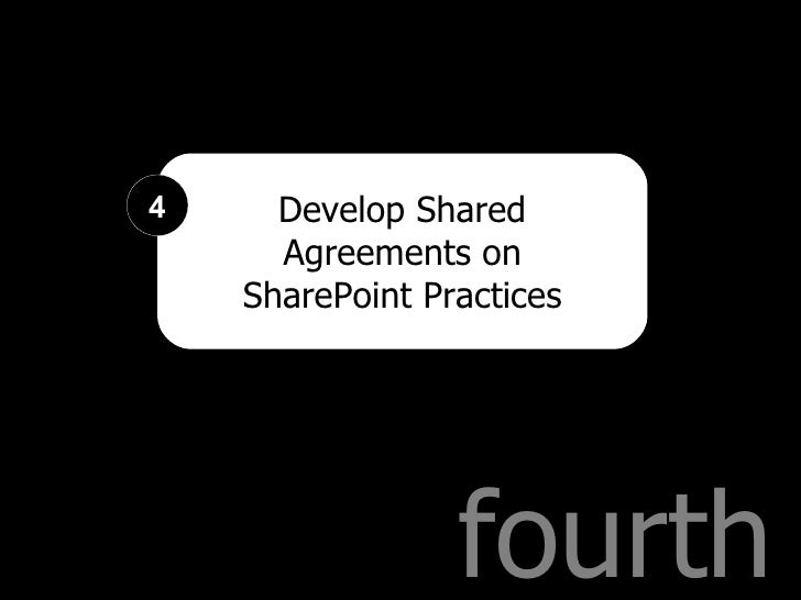 fourth Develop Shared Agreements on SharePoint Practices 4