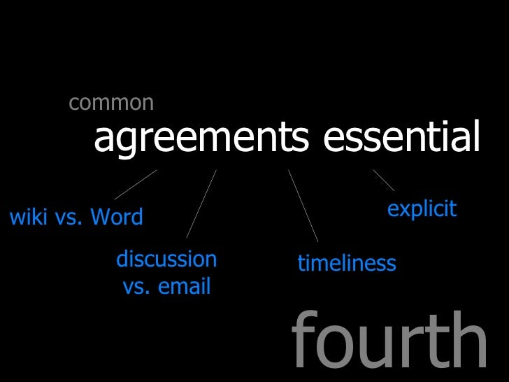 fourth common agreements essential wiki vs. Word discussion vs. email timeliness explicit