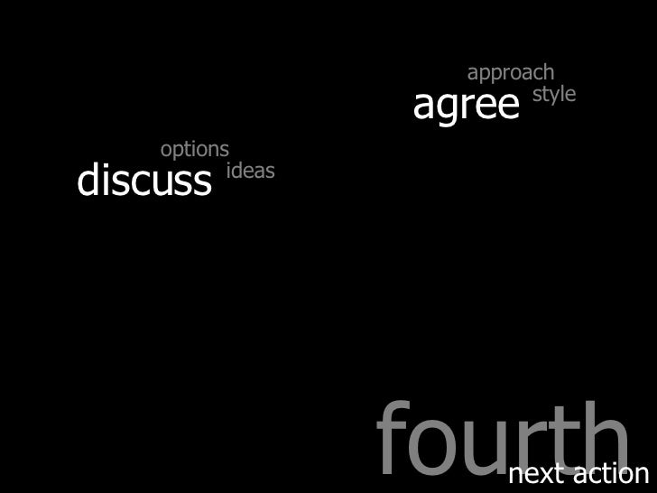 fourth next action discuss agree approach style options ideas