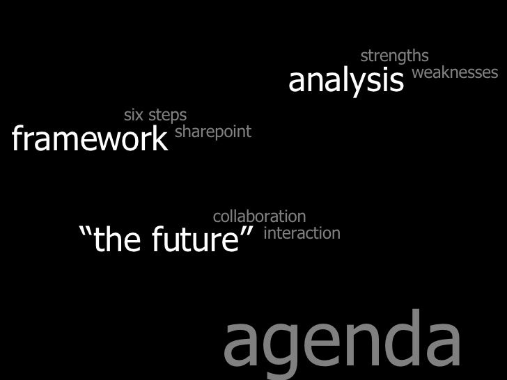 """agenda analysis strengths weaknesses framework six steps sharepoint """" the future"""" collaboration interaction"""