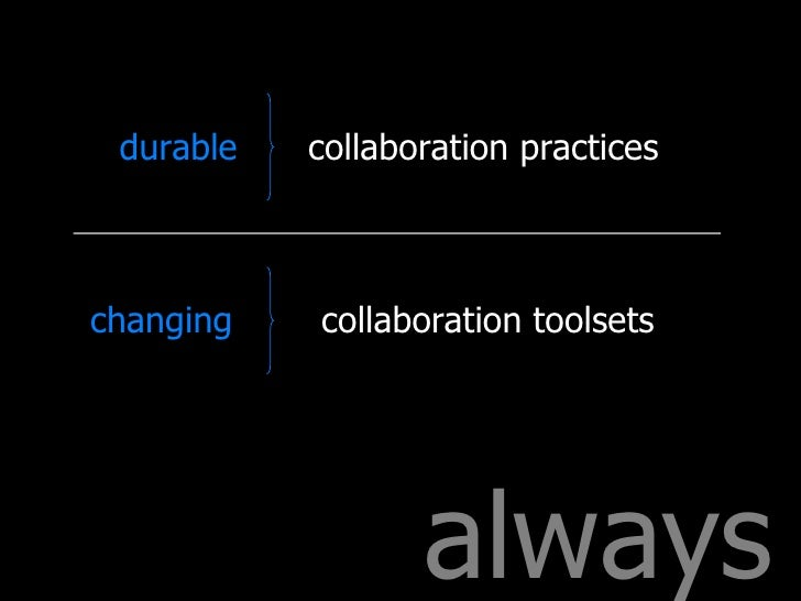 always collaboration practices collaboration toolsets durable changing